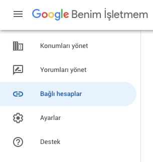 Google Benim İşletmem Bağlı Hesaplar