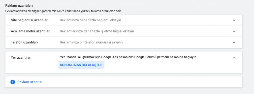 Google Ads Yer Uzantıları