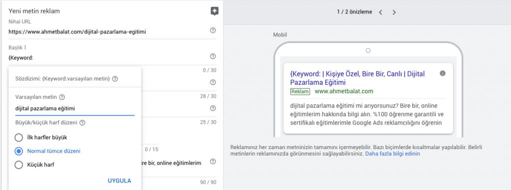 Google Ads Araya Anahtar Kelime Eklemek