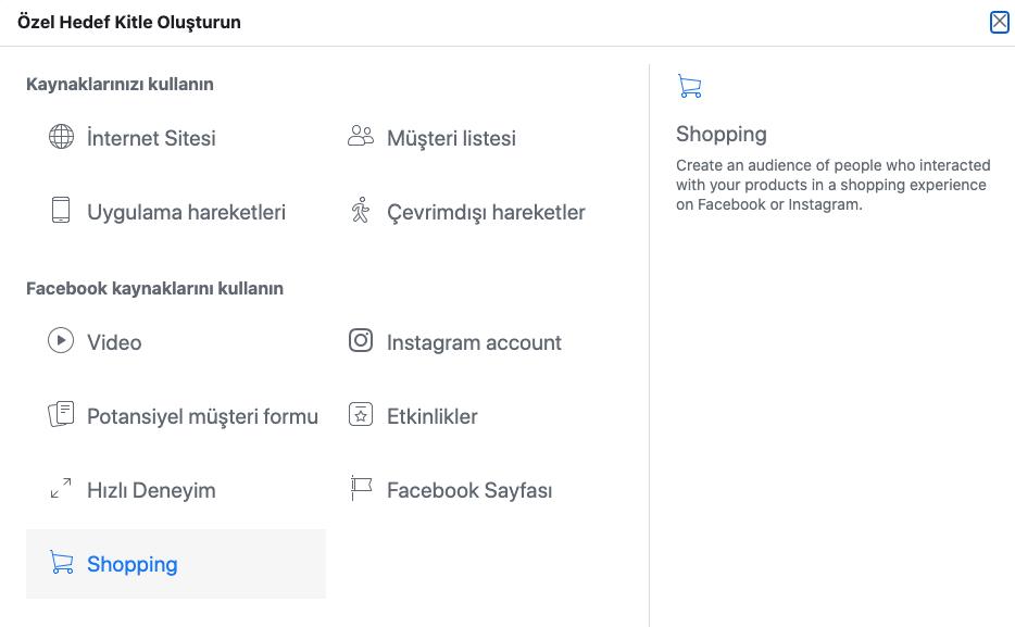 Facebook/Instagram Alışveriş'i Remarketing Olarak Hedeflemek