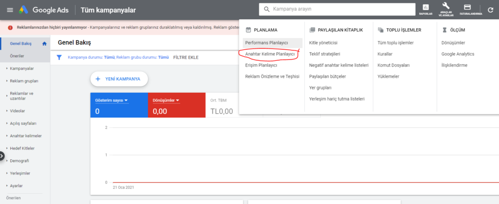 Google Ads Anahtar Kelime Planlayıcı