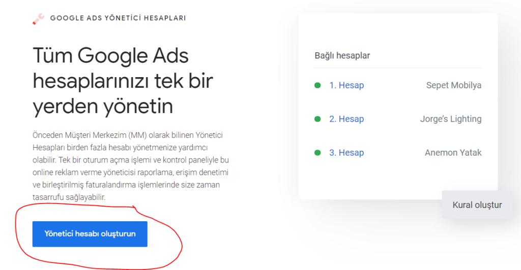 Google Ads MMC (Yönetici) Hesabı Nedir?